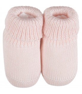 Pink babygirl baby bootee