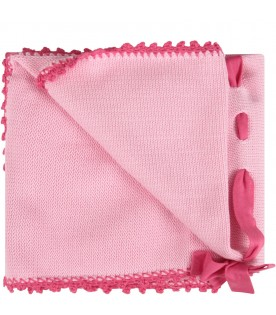 Pink babygirl blanket with bow