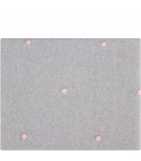 Grey babygirl blanket with pink polka-dots