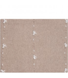 Beige babykids blanket with bows