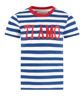 Blue and white girl T-shirt with red writing