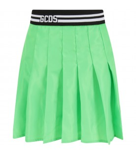 Neon green skirt for girl with logo