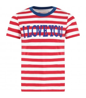 Red and white girl T-shirt with blue writing