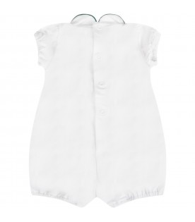 White babykids romper with polka-dots