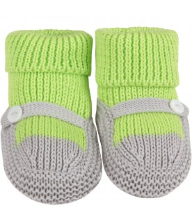 Neon green and grey babykids baby bootee