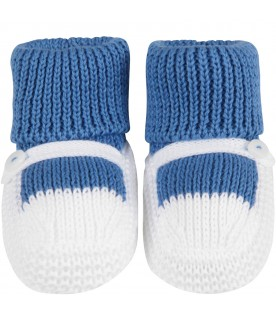 Azure and white babyboy baby bootee
