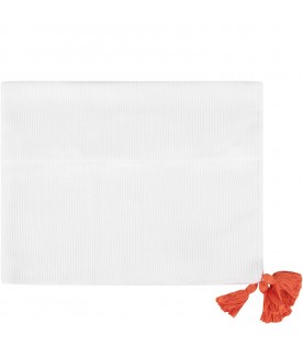 White babykids blanket with tassels