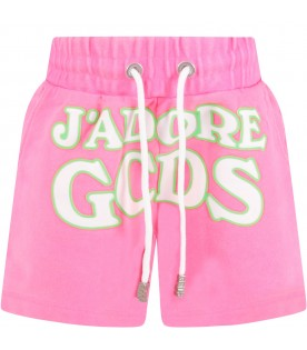 Neon fuchsia girl short with logo