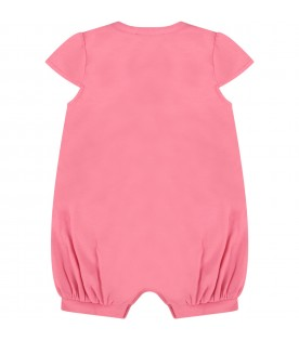 Fuchsia and yellow babygirl suit with Teddy Bear