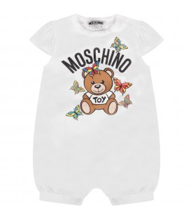 White and yellow babygirl suit with Teddy Bear