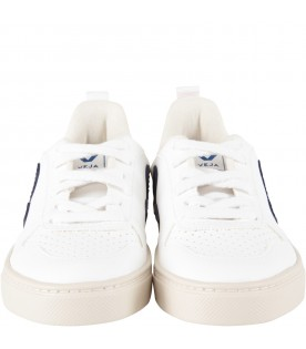 White kids sneakers with blue logo