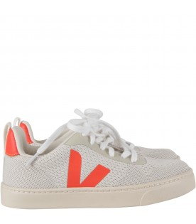 Ivory kids sneakers with logo