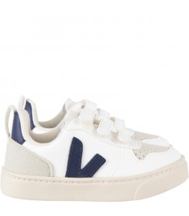 White kids sneakers with logo