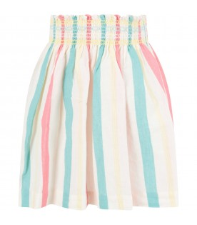 Ivory skirt for girl with stripes