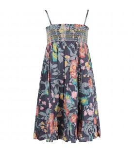 Blue girl dress with colorful flowers