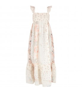 Ivory and pink woman dress with colorful flowers