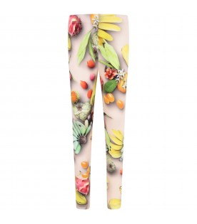 Pink girl leggings with fruits