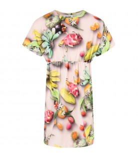 Pink girl dress with fruits
