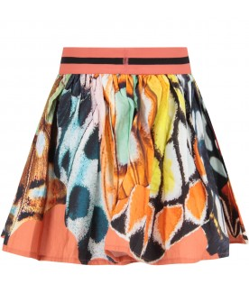 Multicolor girl skirt with butterflies