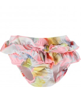 Colorful babygirl swimsuit with parrots