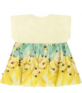Multicolor babygirl dress with bananas