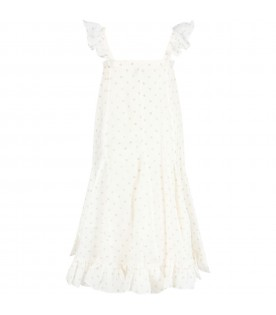 Ivory girl dress with polka-dots