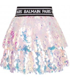 Pink girl skirt with sequis