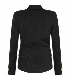 Black jacket with lurex stripes for girl