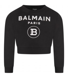 Black sweatshirt with double logo for girl