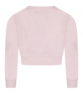 Pink sweatshirt with double logo for girl