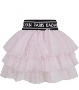 Pink skirt with polka-dots for girl