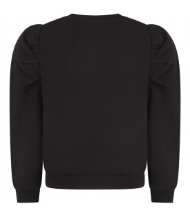 Black sweatshirt with whitelogo for girl