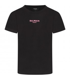 Black T-shirt with logo for girl