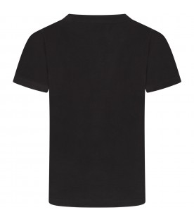 Black T-shirt with logo for boy