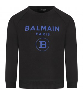 Black sweatshirt with blue double logo for boy