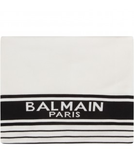 White and black blanket with logo for babykids