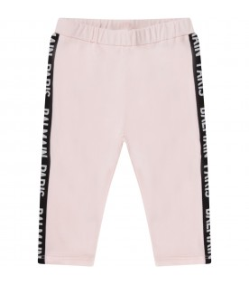Pink leggings with logo for baby girl