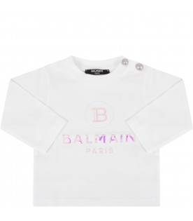 White T-shirt with double logo for baby girl