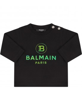 Black T-shirt with double logo for baby girl