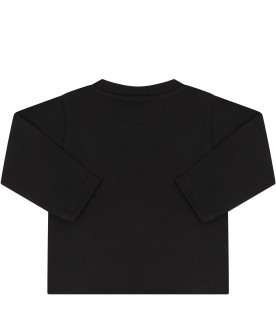 Black babyboy T-shirt with double logo