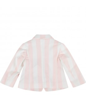Pink and white jacket for baby girl