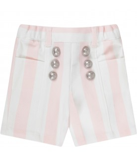 Pink and white babygirl short