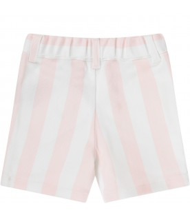 Pink and white short for baby girl