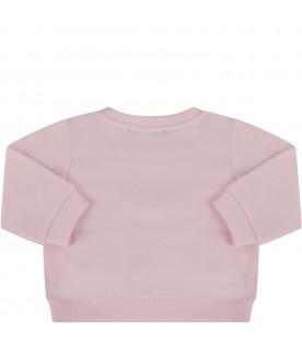 Pink sweatshirt with double logo for babygirl