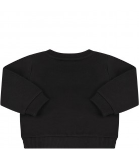 Black sweatshirt with double logo for baby girl