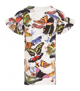 Ivory girl dress with butterflies