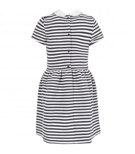 White and blue girl dress with iconic pony logo