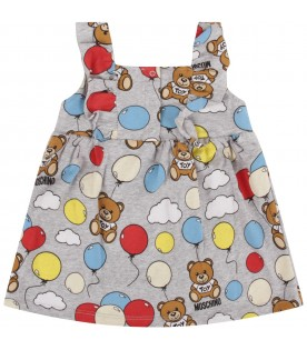 Grey babygirl dress with Teddy Bears and balloons