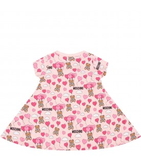 Pink babygirl dress with Teddy Bears