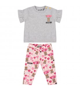 Grey and pink babygirl suit with Teddy Bears and balloons